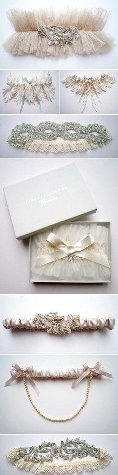 Weddbook ♥ Sexy garters with swarovski crystals, pearls and lace details. Vintage bridal garters by Florrie Mitton. Designer wedding garters.  vintage crystal tulle sexy garter pearl lace  #vintage #crystal #tulle