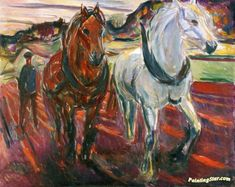 The Athenaeum - Horse Team Plowing (Edvard Munch - ) 1919 Edvard Munch, Caravaggio, Oslo, Expressionist Artists, Post Impressionism, Paul Gauguin, Oil Painting Reproductions, Oeuvre D'art, Les Oeuvres