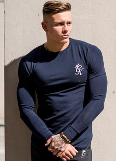674d2a5aa Gym King Longsleeve Fitted T-Shirt Navy