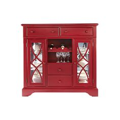 Cindy Crawford Home Ocean Grove Red Curio (€595) ❤ liked on Polyvore featuring home, furniture, storage & shelves, display units, cabinets, red china cabinet, red furniture, curio cabinet, china curio cabinet and curio furniture