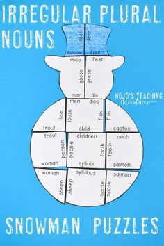 Your kids are going to love focusing on literacy skills during the winter months with this great irregular plural nouns review puzzle. Great for December, January, or anytime there's snow on the ground. Match 18 different plural nouns to its singular pair. Perfect for the 2nd, 3rd, 4th, or 5th grade homeschool or classroom. (Year 2, 3, 4, 5, second, third, fourth, fifth graders, home school)