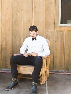Groom in a Black Bow Tie #groom #suit #bowtie