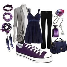 """""""Purple Converse Outfit"""" by bunni711 on Polyvore"""