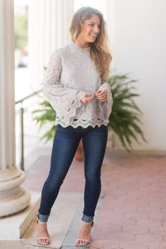 First Lady Top, Gray - The Mint Julep Boutique