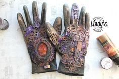 Mixed Media Altered Glove with Lindy's Gang by Phoebe Tonosaki