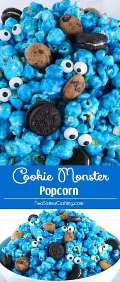 Yummy and adorable Cookie Monster Popcorn - sweet and salty popcorn mixed with mini cookies and googly monster eyes.A fun anytime snack that would also be a great Party food at a Cookie Monster Birthday Party or a Sesame Street Birthday Party. Popcorn Mix, Blue Popcorn, Flavored Popcorn, Cookie Monster Party, Monster Snacks, Monster Food, Monster Birthday Parties, Elmo Party, Sesame Street Birthday Party Ideas