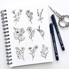 bottom row, first on the left💗 Happy Saturday! Doing a flower study is a great way to expand your drawing skills 🌼 What's your favorite flower? Botanical Line Drawing, Floral Drawing, Flower Sketches, Flower Drawings, Drawing Skills, Drawing Ideas, Floral Banners, Psy Art, Art Anime