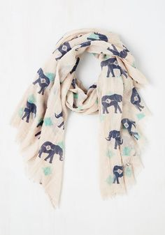 Got the Whole Pachyderm Scarf - Cotton, Sheer, Woven, Multi, Print with Animals, Safari, Top Rated, Gals