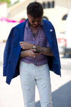 sprezz tattoo ink menswear double breasted white jeans sartorialist trashness