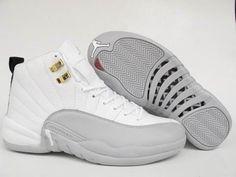 "Air Jordan 12 (XII) Retro ""Flint"" 12s Shoes (white/ gray)"
