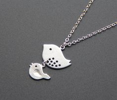Mama Bird and Baby Bird Necklace Tiny birds by MimosaElements, $19.99