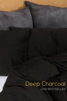 Dramatic deep charcoal adds instant throw-together cool to any living space.pair with a chunky throw and oversized scatters for a luxurious, sumptuous bedroom feel. Pillowcase/s included in every set. Bedroom Inspiration, Duvet Cover Sets, Linen Bedding, Living Spaces, Charcoal, Cozy, Deep, Cotton, Shirts