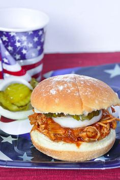 Fourth of July Pulled BBQ Chicken Sandwiches {Slow Cooker}