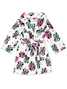 Minnie Mouse Girls Plush Fleece Bathrobe Robe (Toddler Little Kid Big Kid) 43b1c25f9e05