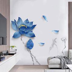 Blue Lotus Flowers Wall Decals – The Treasure Thrift 3d Wall, Framed Wall Art, Wall Art Prints, Blue Lotus Flower, Lotus Flowers, Blue Flowers, White Lotus, Pink Lotus, Art Flowers
