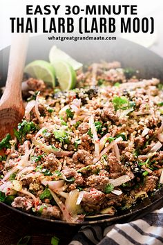 Quick, easy, and ultra flavorful Thai Larb Salad! This homemade version tastes so authentic and comes together in less than 30 minutes. Ground pork is stir fried with all the heathy veggies and tossed with the most flavorful sauce. It's paleo, Whole30, and keto-friendly as well! Easy Weeknight Meals, Quick Easy Meals, Larb Salad, Thai Larb, Larb Recipe, Paleo Recipes, Dairy Free Recipes, Meat Salad