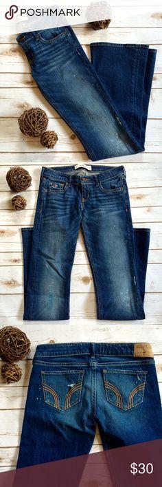 Hollister distressed denim jeans EUC! Distressed dark wash denim flare jeans, size 3R. W 26 L 31 Hollister Jeans Flare & Wide Leg