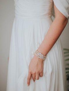 Rhinestone Bridal Cuff Ivory Wedding Bracelet by DavieandChiyo Bridal Cuff, Bridal Bracelet, Bridal Jewelry, Wedding Bracelets, Perfect Bride, Beautiful Bride, Ivory Wedding, Boho Wedding, Armband Rosegold
