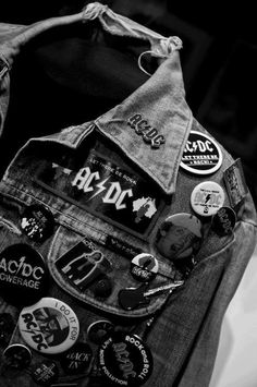 punk metal jean jacket with rock and roll patches, grit, distressed, band, music, rock the f out. www.RockTheFOut.com