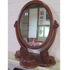A Victorian mahogany dressing mirror with trinket compartment - Height x Honeysuckle Cottage, Dressing Mirror, Antique Furniture, Auction, Victorian, Antiques, Home Decor, Antiquities, Dresser Mirror