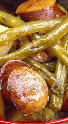 Kielbasa Green Bean and Potato Casserole - Recipes - Sausage Recipes Pork Recipes, Slow Cooker Recipes, Crockpot Recipes, Cooking Recipes, Recipies, Easy Kielbasa Recipes, Kielbasa Crockpot, Polish Sausage Recipes, Smoked Sausage Recipes