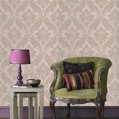 Vintage Flock Wallpaper by Kelly Hoppen - Designer Green Wall Coverings by Graham  Brown
