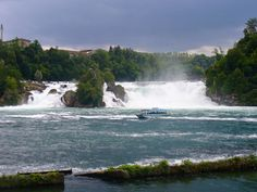 The Rhein waterfall is the largest plain waterfall in Europe.  The falls are located on the Upper Rhine between the municipalities of Neuhausen am Rheinfall and Laufen-Uhwiesen, near the town of Schaffhausen in northern Switzerland, between the cantons of Schaffhausen and Zürich.