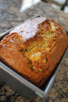 Easy banana bread. I made this and it was so quick and easy! I added 1/4 tsp of nutmeg and 1/2 tsp of cinnamon and it was perfect! I like that it doesn't have nuts.