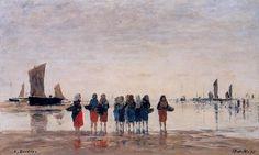 """""""Les pêcheuses à Berck"""", huile de Eugène Louis Boudin (1824-1898, France)"""