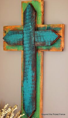 Beyond The Picket Fence: Scrap Wood Cross Pallet Crafts, Pallet Art, Wood Crafts, Diy Crafts, Reclaimed Wood Projects, Scrap Wood Projects, Wooden Crosses, Wall Crosses, Decorative Crosses