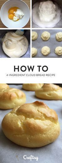 Cloud Bread Recipe – Only 4 Ingredients! - - Cloud Bread Recipe – Only 4 Ingredients! Try baking these delicious bread rolls with just 4 ingredients. This cloud bread recipe is quick to bake, easy to make and tastes great! Ketogenic Recipes, Low Carb Recipes, Cooking Recipes, Healthy Recipes, Bread Recipes, Easy Recipes, Ketogenic Diet, Recipes Dinner, Pescatarian Recipes