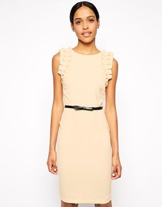 Paperdolls Ruffle Shoulder Pencil Dress with Belt