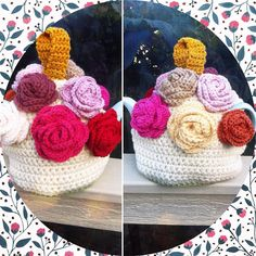 And a logical finish to a very long day - one completed rose covered tea cosy. #crochet #crochetroses #crochetaddict #crochetconcupiscence #crochetteacosy #teacosy by lyndapc