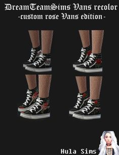 """hulasims: """" Custom Vans with Patch (embroidered) for female Sims 4 Mm Cc, Sims Four, Sims 4 Mods Clothes, Sims 4 Clothing, The Sims 4 Shoes, Sims 4 Download Free, Hula, Sims 4 Cas Mods, Sims 4 Anime"""