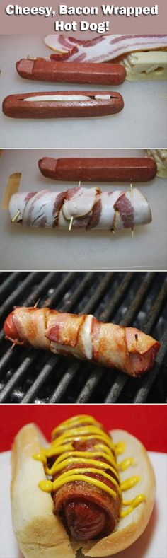 Ummm.. cheese bacon wrapped hotdog? Pre-make for camping and this would be the best drunken campire hotdog ever! Must make this...