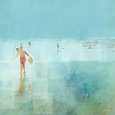 size: Art Print: Beach Day Shelling by Dan Meneely : Framed Artwork, Framed Prints, Canvas Prints, Art Prints, Wall Art, Contemporary Artwork, Beach Day, Find Art, Dan