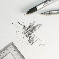 Geometric Beasts | Hummingbird  Smallest so far. by kerbyrosanes