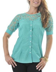 (CLICK IMAGE TWICE FOR DETAILS AND PRICING) Calcutta Panel Shirt Aquifer. A stylish panel shirt that features a darted bust, traditional cuff sleeves, and a crochet front and back yoke.. See More Tops at http://www.ourgreatshop.com/Tops-C74.aspx