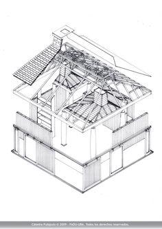 Moore House, Orinda, California, 1962. Charles W. Moore _ Autor: Brick Uriel David - 2000 / Axonometría