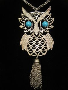 """Cool Vtg 24"""" Silver Tone Necklace 5"""" Articulating Owl Pendant w Tassel A9 #Pendant"""
