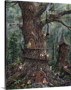 Trademark Global Jeff Tift 'Gnomes Sweet Home' Canvas Art - 24 x 18 x 2 Fairy Tree Houses, Fairy Village, Fairy Garden Houses, Diy Fairy House, Gnome Garden, Gnome Village, Cool Tree Houses, Forest Fairy, Fairy Land