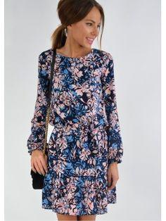 75680763aa Sukienka z falbanką w kwiaty granat