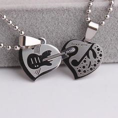 Lovers Double Heart Guitar Pendant Necklace Music Jewelry, Cute Jewelry, Jewelry Accessories, Jewelry Design, Unique Jewelry, Jewelry Logo, Glass Jewelry, Jewelry Gifts, Silver Jewelry