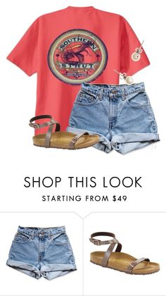 """"" by flroasburn ❤ liked on Polyvore featuring Levi's, Birkenstock and J.Crew"