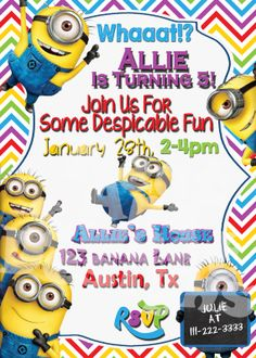 5 X 7 Printable Despicable Me Minion Birthday Party Invitation - Despicable Me 2 Party Ideas - Minion Party #minionparty #despicablemeparty