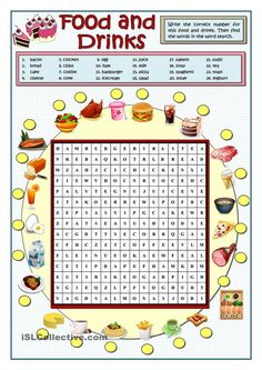 Food And Drinks Wordsearch - English Esl Worksheets English Games, English Activities, Food Vocabulary, English Vocabulary, Vocabulary Activities, English Lessons, Learn English, English Class, French Lessons