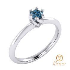 Inel de logodna din aur cu diamant albastru model solitaire ES1