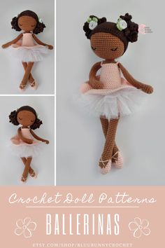 Crochet Doll Pattern, Amigurumi Ballerina Doll with Tutu and Flowers Pattern, Bailarna Patron, Black Crochet Doll Mirabelle from the series of Mini Ballerina Doll, Amigurumi Ballerina Doll Pattern. This is a DOWNLOADABLE TUTORIAL. Written in English, using Us terminology. Bunny Crochet, Crochet Doll Pattern, Cute Crochet, Crochet Crafts, Crochet Toys, Crochet Projects, Crochet Patterns, Amigurumi Doll, Amigurumi Patterns