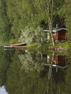 Sauna and Lake Reflections, Lapland, Finland by NaxArt Transportation Photographic Print - 46 x 61 cm Sauna Design, Finnish Sauna, Lapland Finland, Summer Scenes, Relax, Saunas, Helsinki, Hygge, Great Places