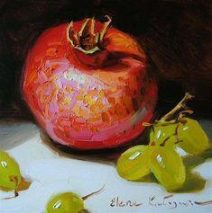 """Pomegranate and Grapes"" - Original Fine Art for Sale - © Elena Katsyura"
